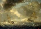 Море с кораблями в ненастный день