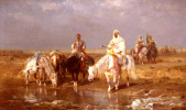 Адольф Шрейер. Арабы поят лошадей