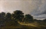 Жорж Мишель. Пейзаж с деревьями, зданиями и дорогой