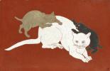Цугухару Фудзита ( Леонар Фужита ). Cat and kittens