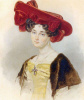 Portrait of an unknown woman in a dark red hat