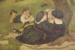 Форд Мэдокс Браун. Чатемская идиллия, 1640. Фрагмент. Фреска мурала здания Манчестерской ратуши