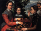 The sisters of the artist Lucia, Minerva and Europe play chess
