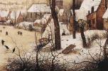 Питер Брейгель Старший. Зимний пейзаж с катающимися на коньках и ловушкой для птиц. Фрагмент