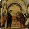 Маэста, алтарь сиенского кафедрального собора, передняя сторона, пределла со сценами из детства Иисуса и пророками, Сретение