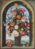 Vase with flowers in a window niche