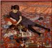Девушка на красной ковровой дорожке