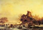 Фредерик Мариан Крусеман. Зимний пейзаж с конькобежцами на реке