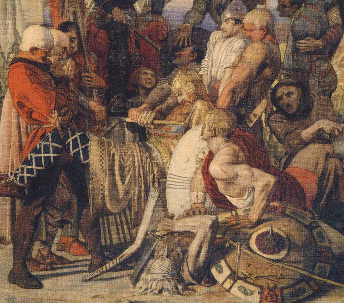 Ford Madox Brown. The body of king Harold before William the Conqueror. Fragment II