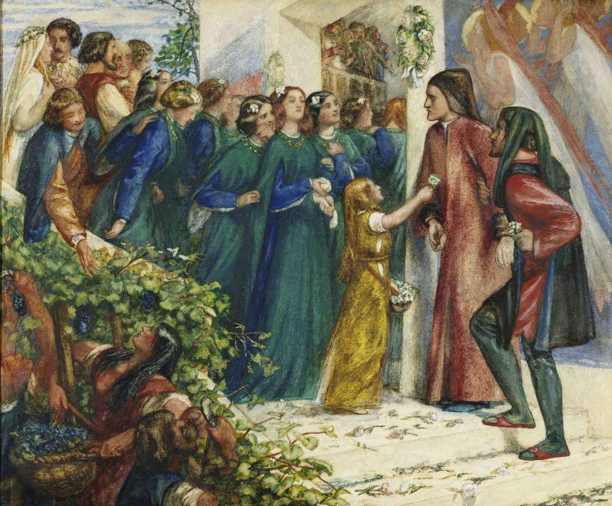 Данте Габриэль Россетти. Встреча Данте и Беатриче на чужой свадьбе. Эскиз