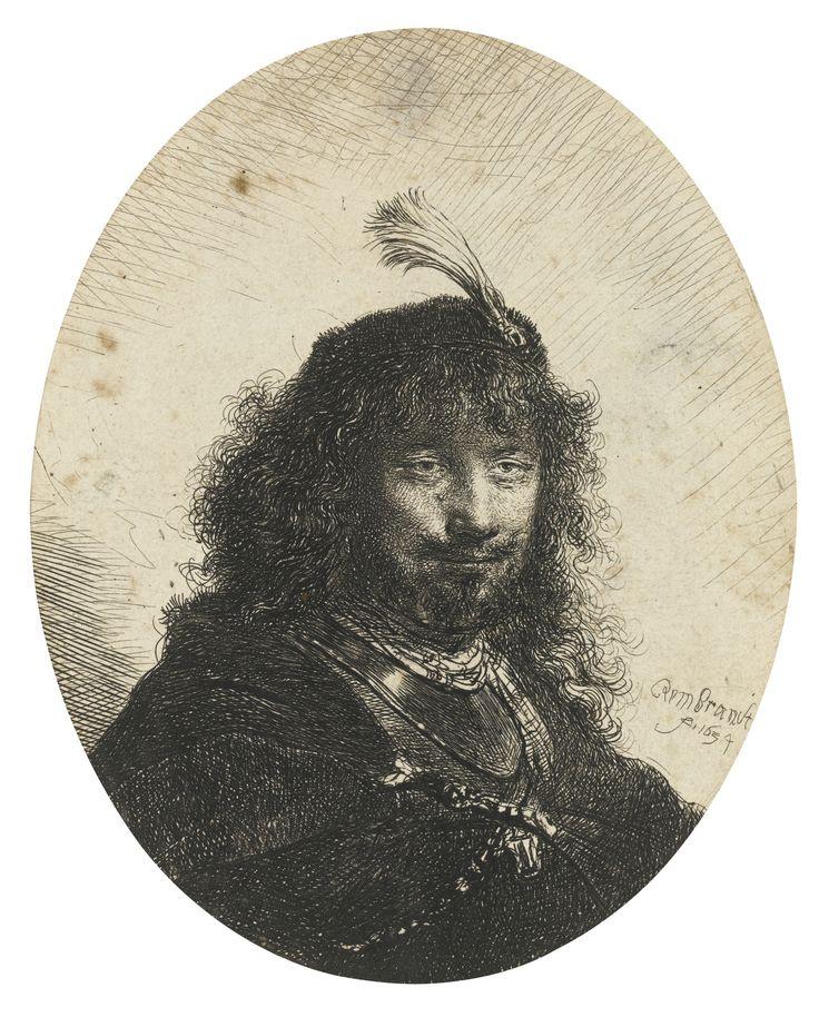 Рембрандт Харменс ван Рейн. Автопортрет (?) в берете с пером