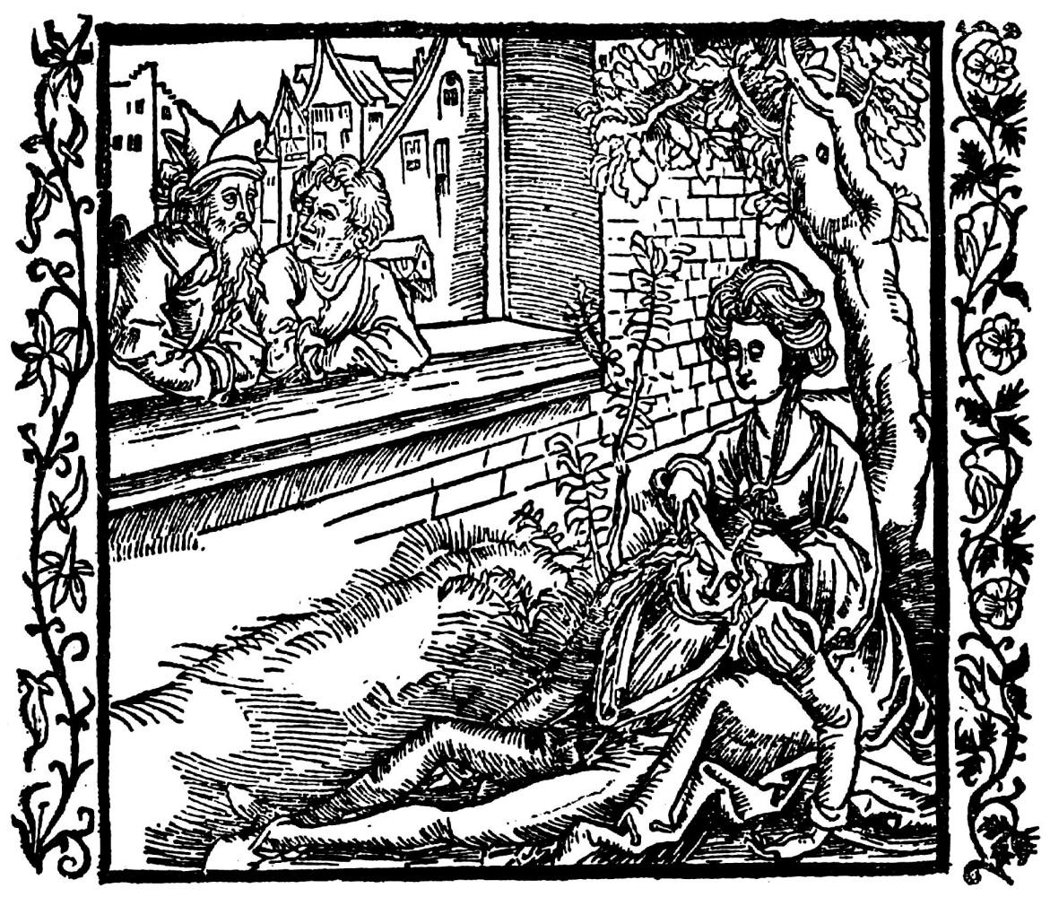 """Альбрехт Дюрер. Иллюстрация к книге """"Рыцарь де ля Тур"""". Далила остригает волосы Самсона."""