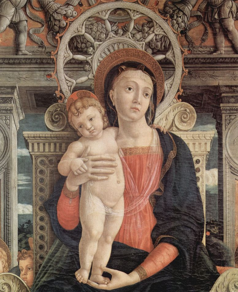 Андреа Мантенья. Мадонна на престоле с ангелом (фрагмент)