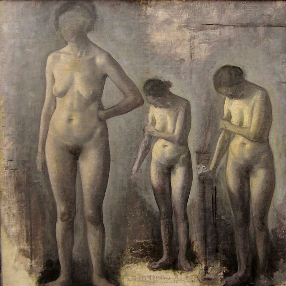 Vilhelm Hammershøi. Three nude models in the studio