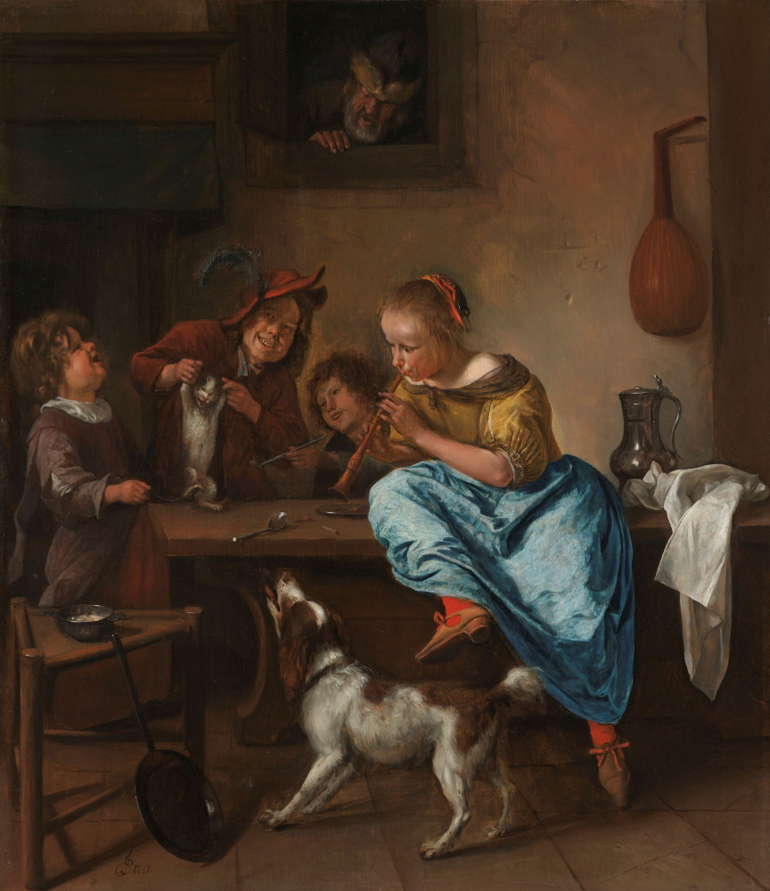 Jan Steen. Children teaching a cat to dance (The dancing lesson)