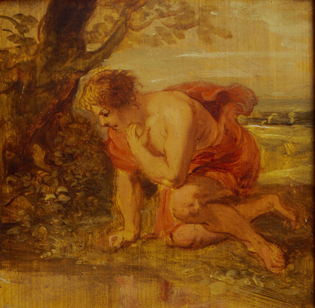 Peter Paul Rubens. Narcissus in love with his own reflection. Sketch