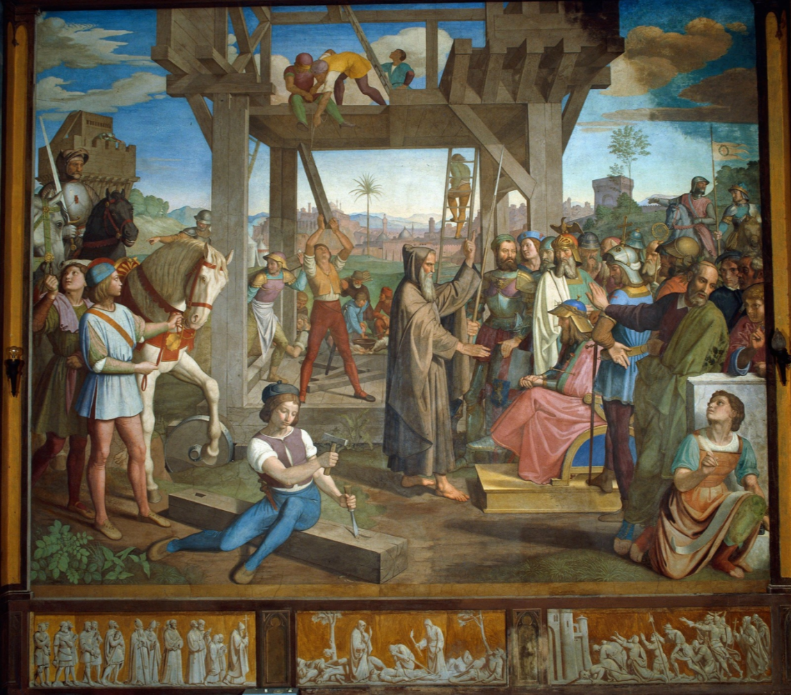 Johann Friedrich Overbeck. Frescoes of Villa Massimo, Tasso Hall - Peter Amiens appoints Godfrey of Bouillon as leader of the Christian army preparing to attack Jerusalem.
