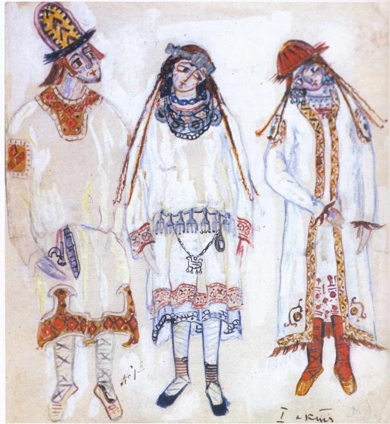 """Nicholas Roerich. Three characters (guy and girl). Sketch for the ballet """"Spring sacred"""" by I. Stravinsky"""