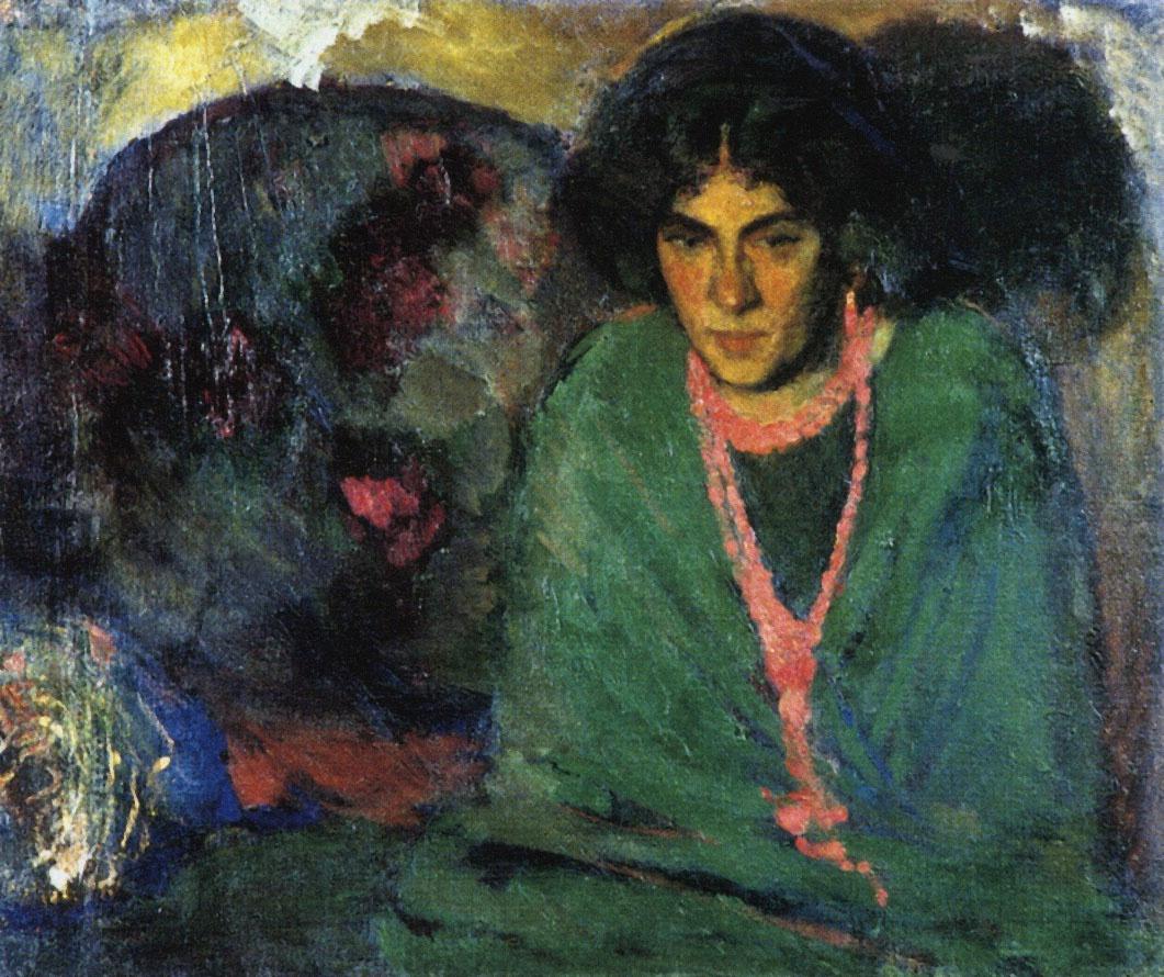 Boris Izrailevich Anisfeld. The lady in green. 1910.