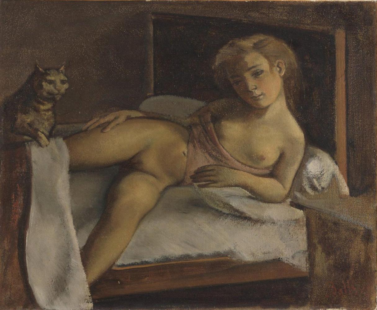 Balthus (Balthasar Klossovsky de Rola). Girl with a cat