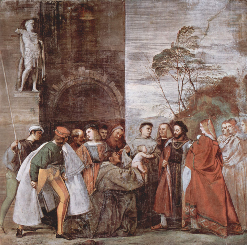 """Titian Vecelli. The frescoes on the story of """"the Wonderful works of St. Anthony of Padua"""". The miracle of the newborn"""