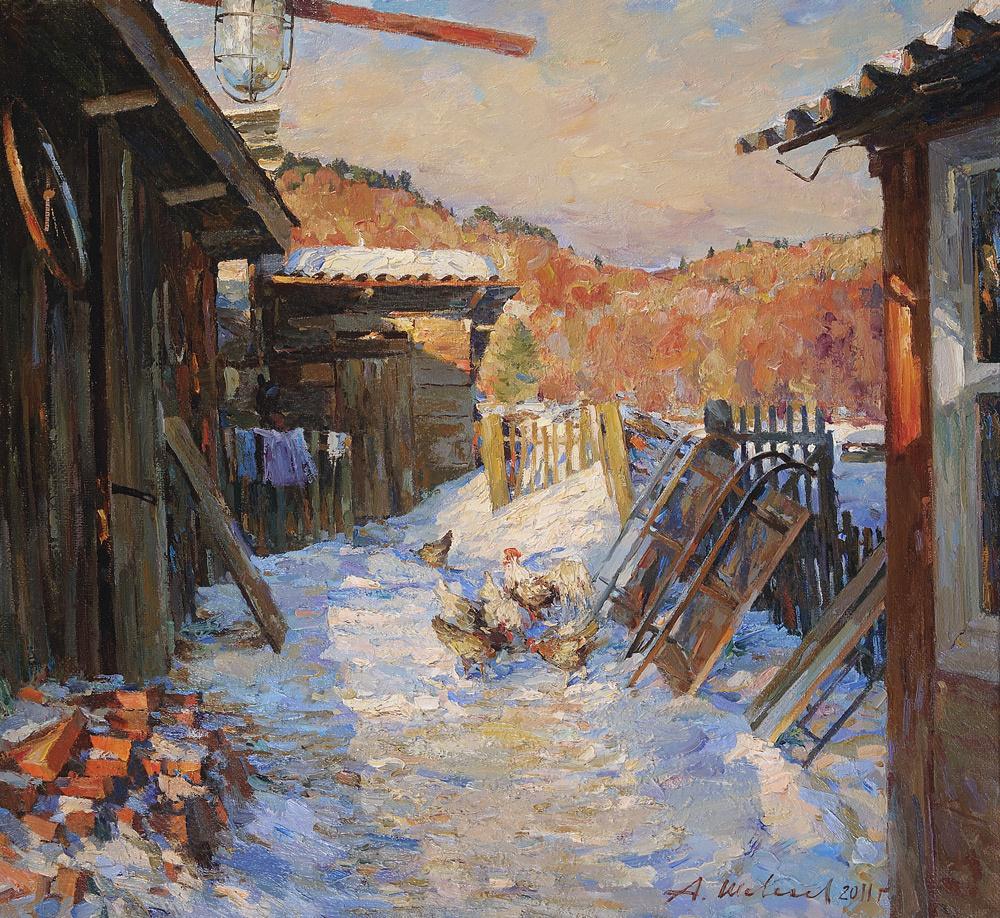 Alexander Shevelyov. The courtyard in Sherehovichi.Oil on canvas 47,5 # 51,5 cm 2011