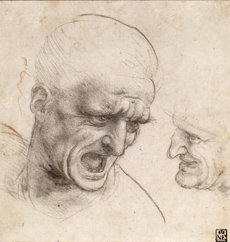 """Леонардо да Винчи. Головы двух воинов. Эскиз к работе """"Битва при Ангиари"""""""