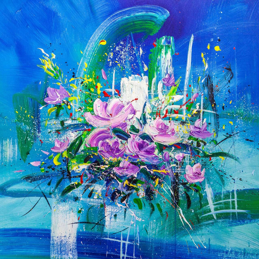 Brian dupre. Bouquet on a blue background