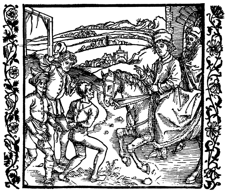 """Альбрехт Дюрер. Иллюстрация к книге """"Рыцарь де ля Тур"""". Катон Младший освобождает злодея, приговорённого к повешению"""