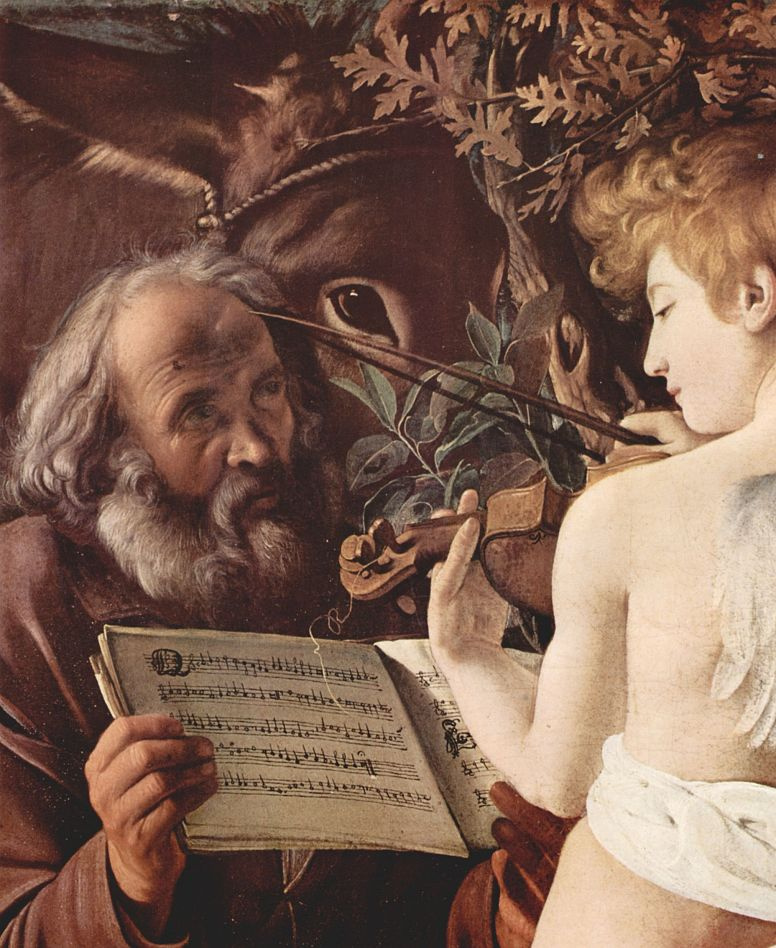 Michelangelo Merisi de Caravaggio. Rest on the flight into Egypt, detail: Joseph and an angel playing music