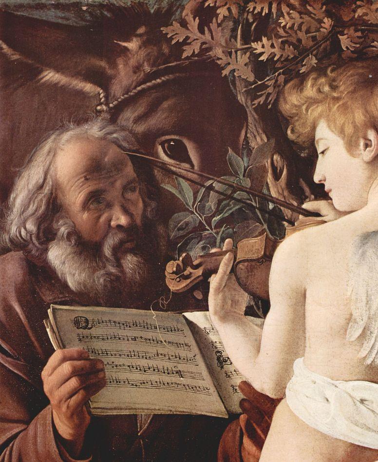 Микеланджело Меризи де Караваджо. Отдых на пути в Египет, деталь: Иосиф и музицирующий ангел