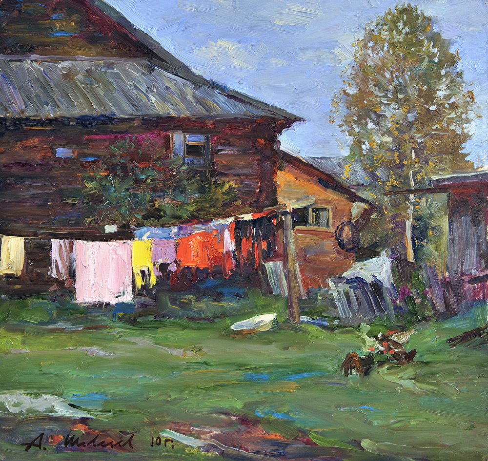 Alexander Shevelyov. Behind the house in Sherehovichi.Oil on canvas 32,2 # 35,3 cm 2010