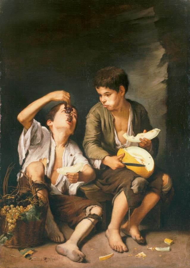 Bartolomé Esteban Murillo. Boys eating melon and grapes