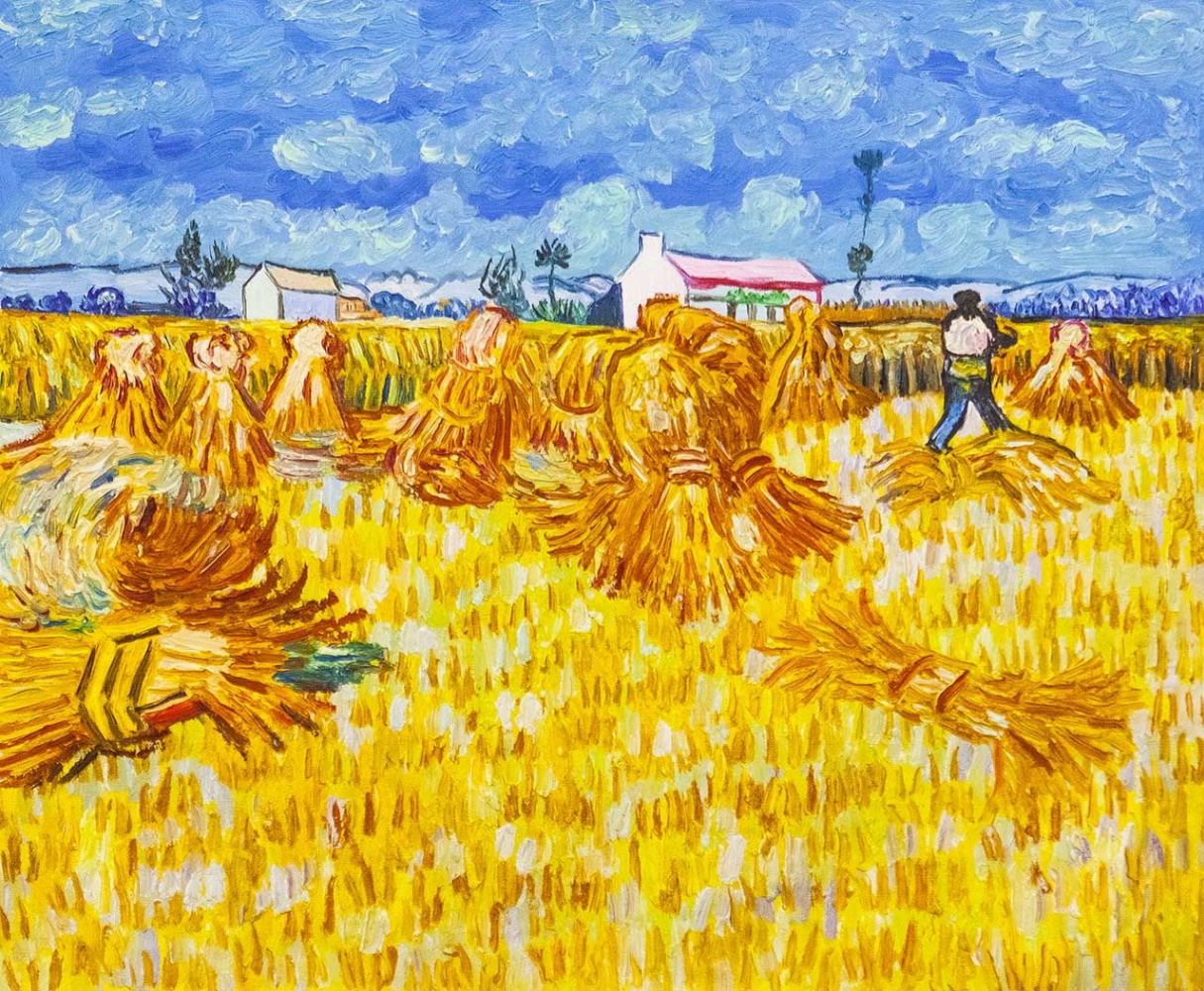 "Andrzej Vlodarczyk. Copy of Van Gogh's painting ""Harvesting in Provence"""