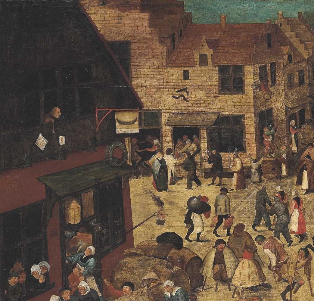 Peter Brueghel the Younger. Battle of carnival and Lent (canvas). Fragment II