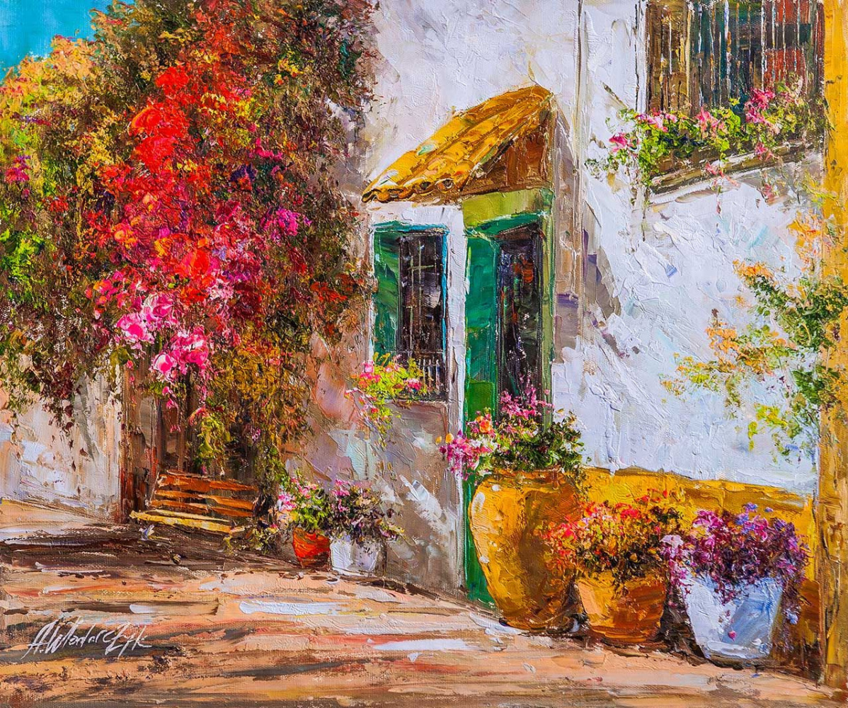 Andrzej Vlodarczyk. Bench at home with green shutters