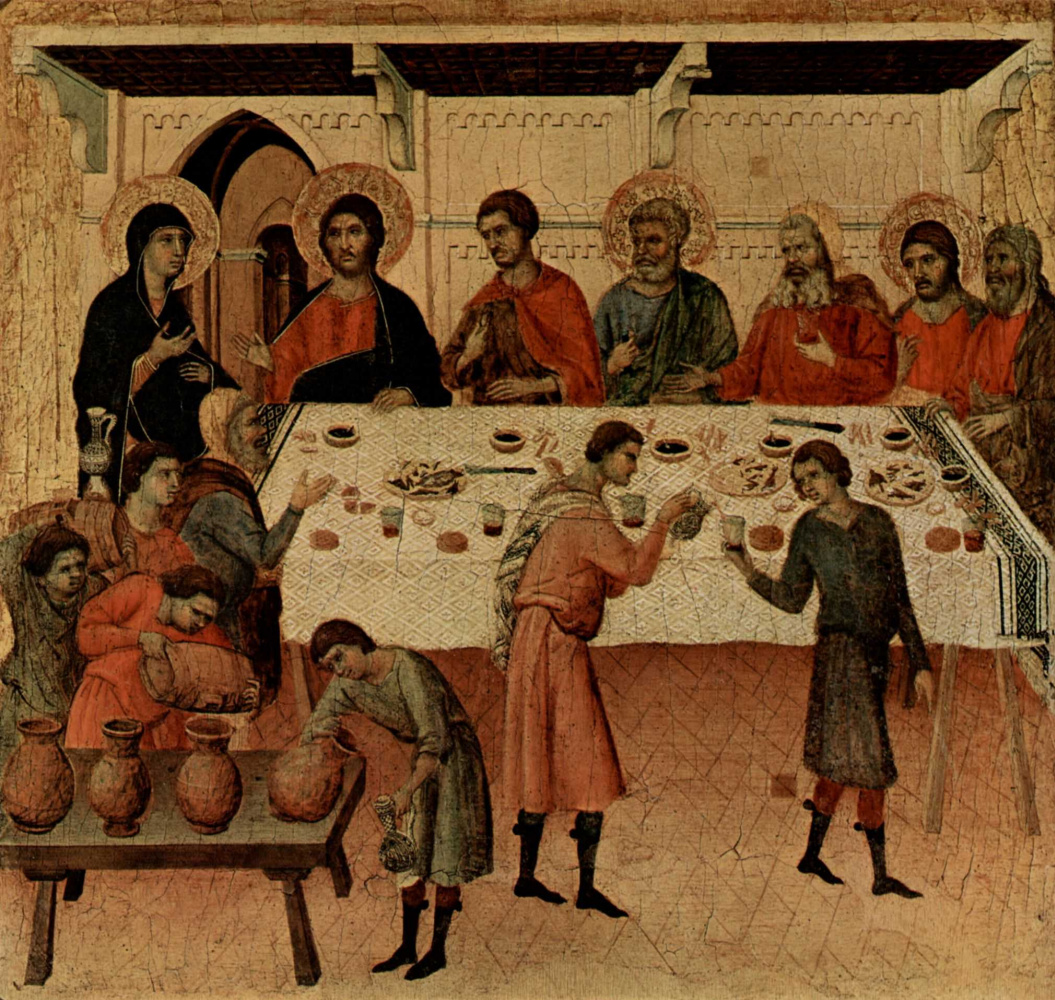 Duccio di Buoninsegna. Maesta, altar of Siena Cathedral. The marriage in Cana