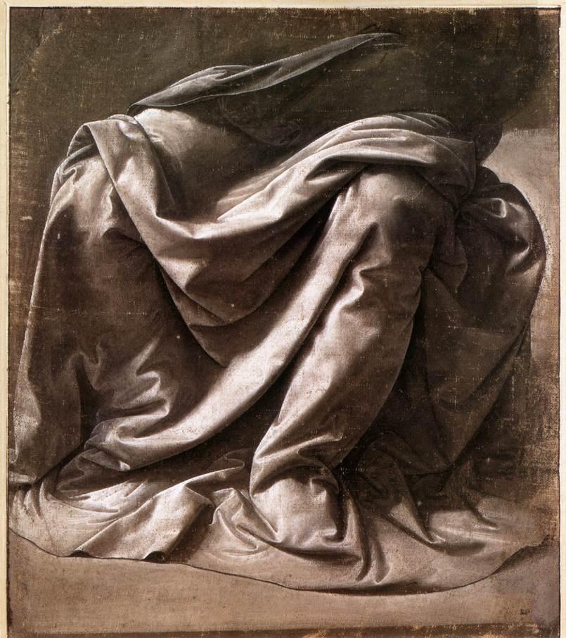 Леонардо да Винчи. Складки одежды сидящей фигуры