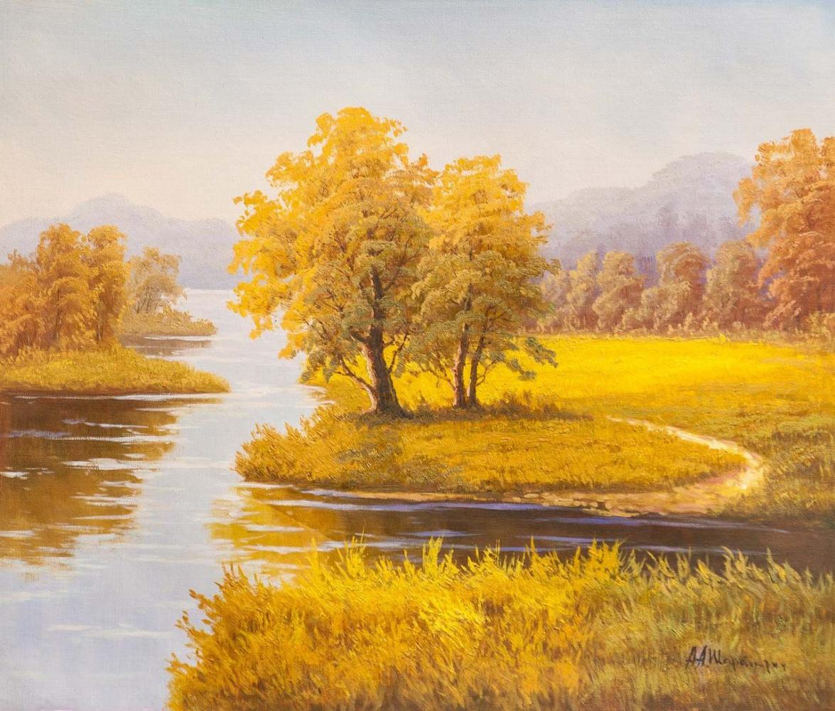 Andrey Sharabarin. Autumn pastoral. On the river bank