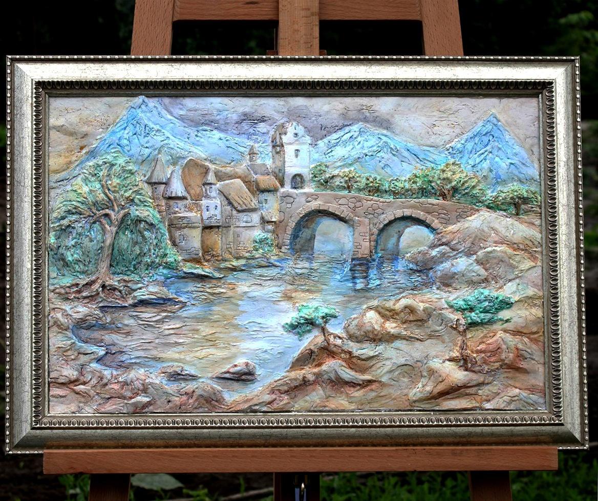 "Julia Akulova. Painting-bas-relief ""Quiet castle"""