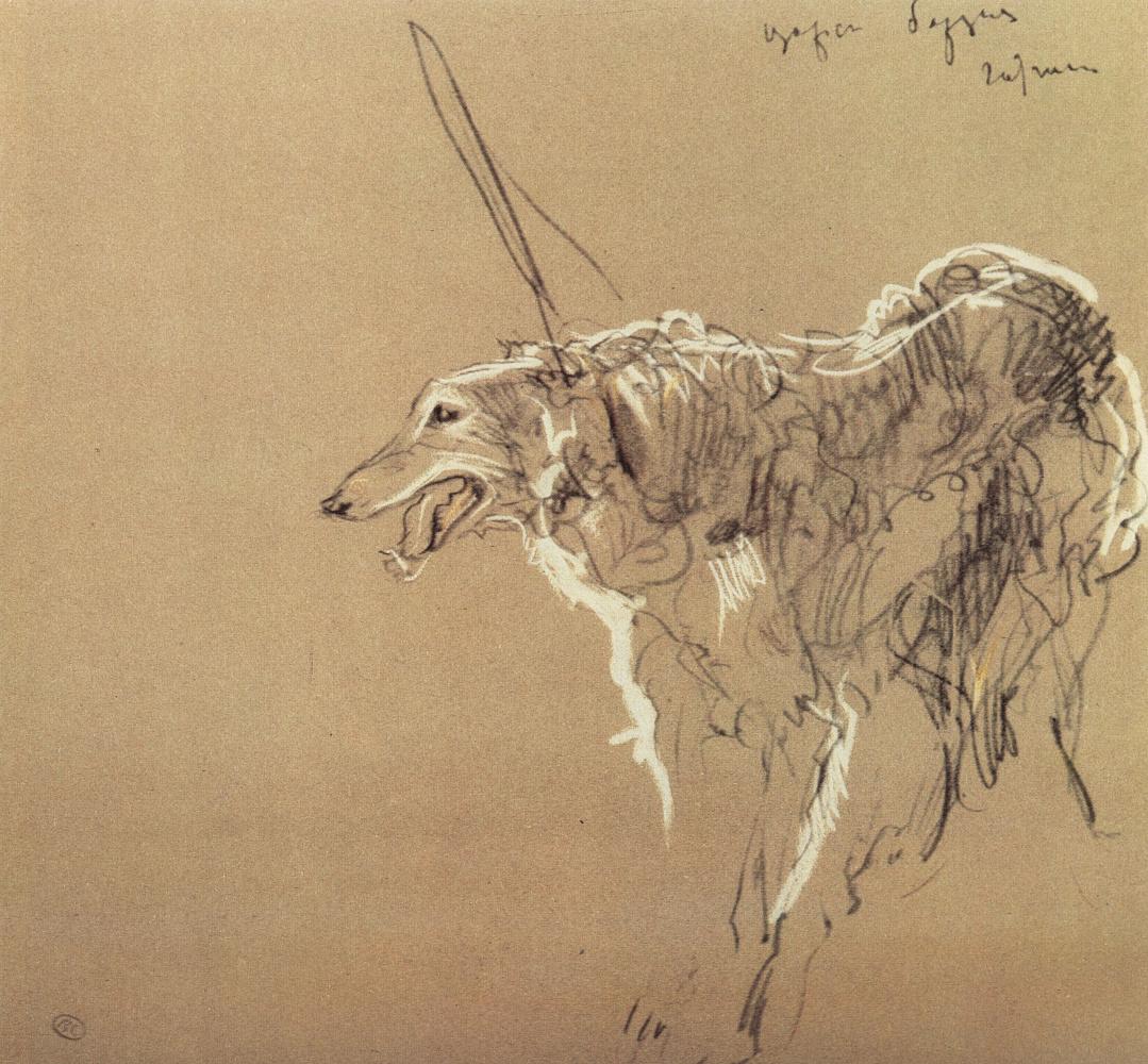 Valentin Aleksandrovich Serov. Greyhound Royal hunting