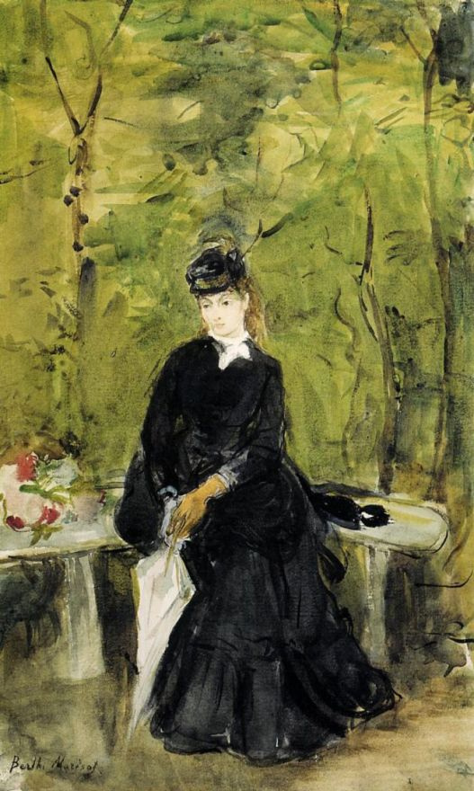 Берта Моризо. Молодая дама, сидящая на скамейке