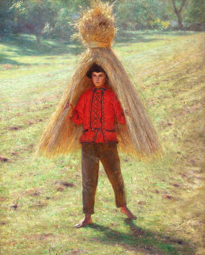 Alexander Gerymski. Boy carrying a sheaf of hay