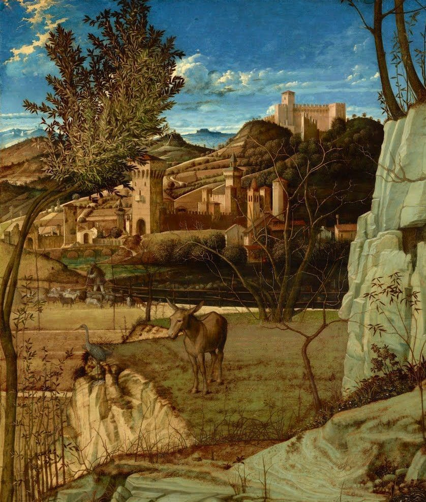 Giovanni Bellini. St. Francis in the desert. A detail of the landscape