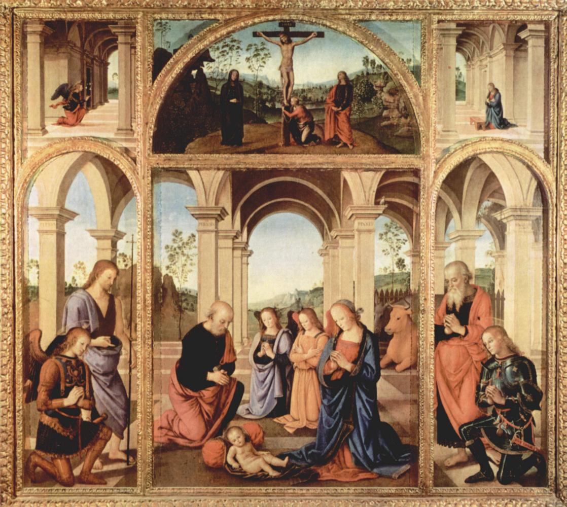 Пьетро Перуджино. Алтарный полиптих, центральная часть: Рождество Христово. В люнете центральной части: Распятие. Левая створка: Иоанн Креститель