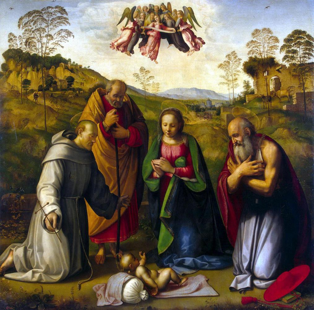 Ридольфо Бигорди Гирландайо. Поклонение младенцу со Святым Франциском и Святым Иеронимом
