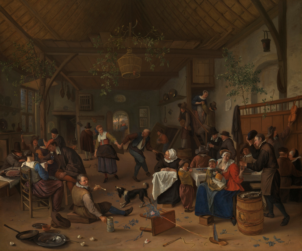 Jan Steen. The party was in the tavern with dancing couple