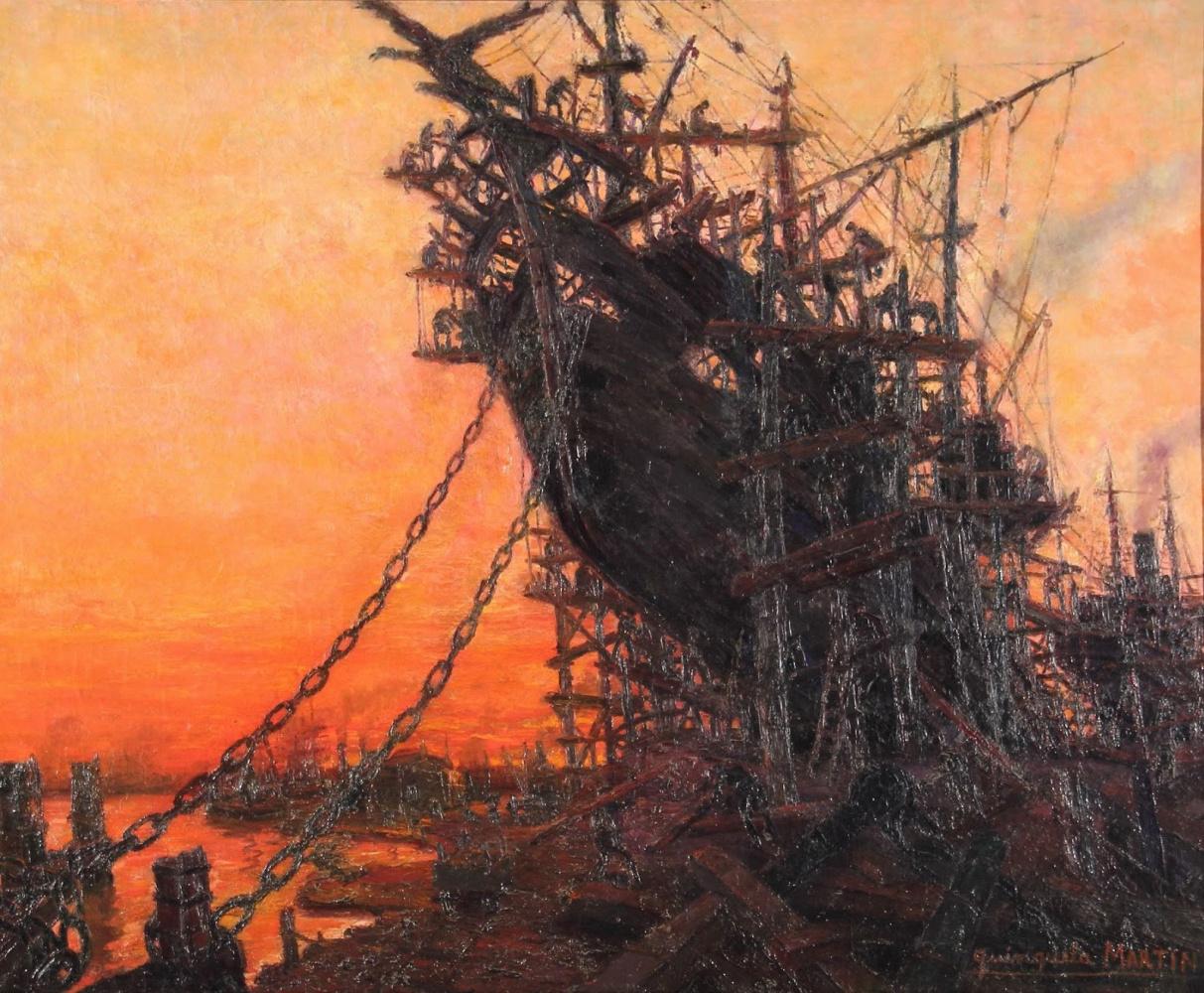 Benito Quinquela Martín. Twilight at the shipyard