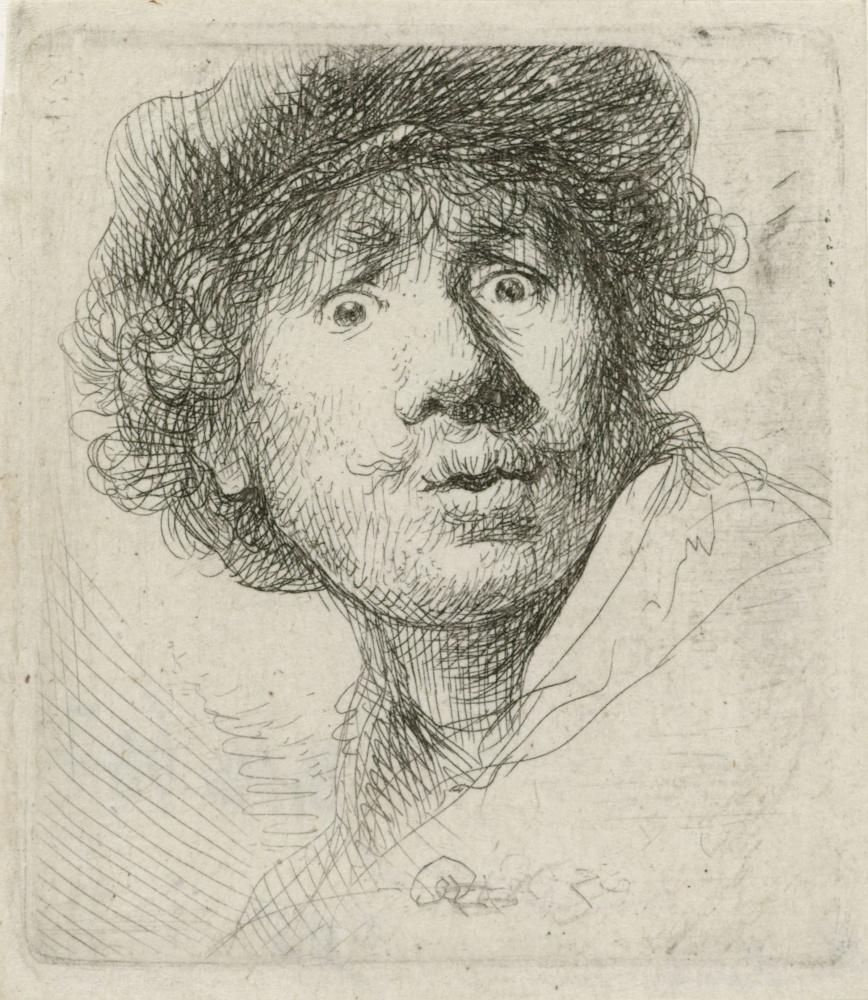 Рембрандт Харменс ван Рейн. Автопортрет в берете и с вытаращенными глазами