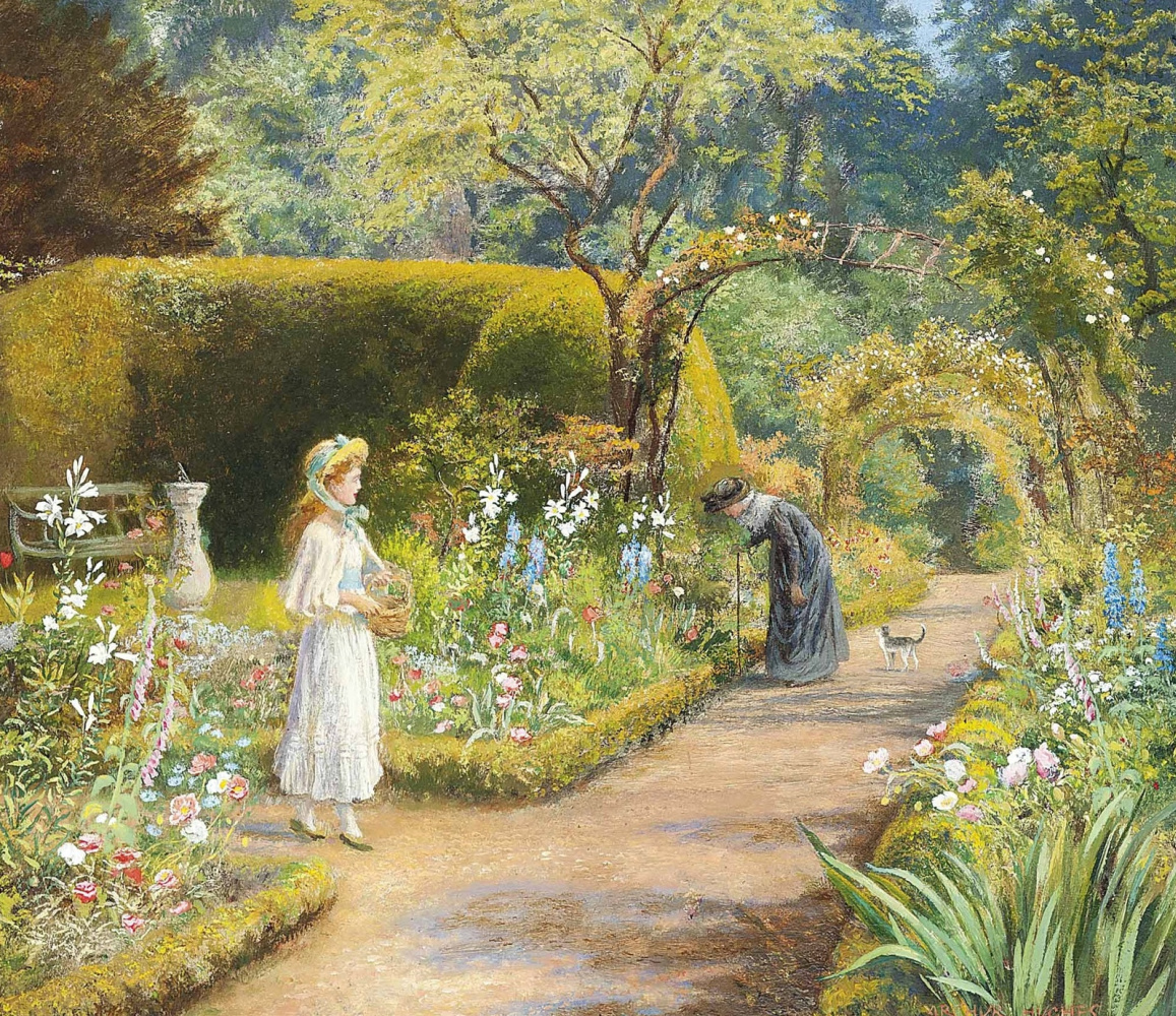 Arthur Hughes. In the garden: a visit to the grandmother